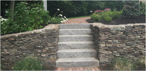 Stacked Stone Wall with Granite Step